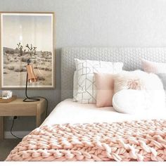 soft grays and pinks Dream Rooms, Dream Bedroom, Home Bedroom, Girls Bedroom, Bedroom Decor, Bedrooms, My New Room, My Room, Home Design