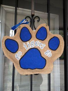 University of Memphis Tiger Paw Burlap door by MishmoshandGoulash, $25.00