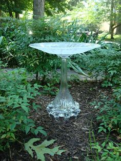 "Elegant one of a kind bird bath.   ""The Ava"" is beautiful repurposed glass garden art."