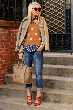 Sweater: Madewell. Blouse: Equipment (remember it here?). Denim: Current/Elliott (last seen here). Shoes: Jcrew. Sunglasses: Karen Walker. Bag: Celine. Jewels: David Yurman, Michael Kors, Jcrew, Gap, BR, YSL. Jacket: Gap (old).
