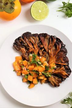 These vegan seared maitake mushroom (hen of the woods) steaks are topped with a sweet, fresh, and bright, seasonal persimmon salsa. Steak And Mushrooms, Stuffed Mushrooms, Stuffed Peppers, Steaks, Fruit Recipes, Vegan Recipes, Vegan Food, Salsa, Maitake Mushroom