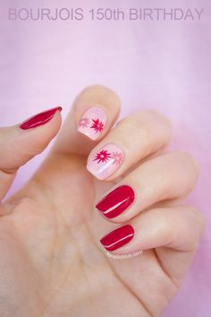 Floral nail art with red polish. Manciure details on SoNailcious.com