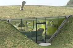 Environmentally friendly semi-underground houses.