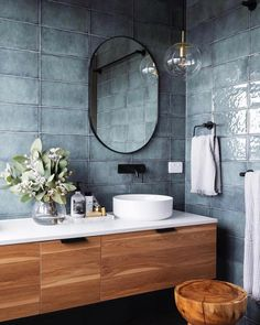 Bathroom Cabinet Ideas to Tidy up Your Bathroom Denman Prospect Residence - Studio Black Interiors A modern ensuite, with black fixtures, floating timber and stone vanity, and sage green tiles. Built by Homes by Howe. Photography by HCreations. Bathroom Renos, Small Bathroom, Master Bathroom, Colorful Bathroom, Blue Bathrooms, Blue Bathroom Tiles, Unit Bathroom, Bathroom Black, Textured Tiles Bathroom