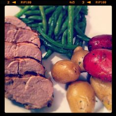 Balsamic-Garlic crusted pork tenderloin, boiled salt potatoes with herb butter and green beans. This entire meal was made via recipes I found on Pinterest. :)