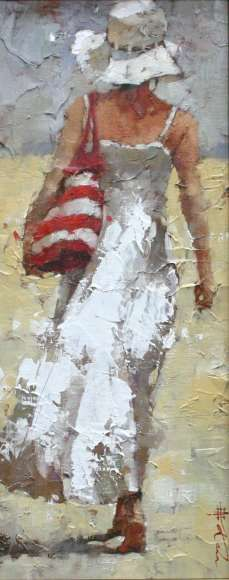 Andre Kohn The Day Off Original Oil Painting