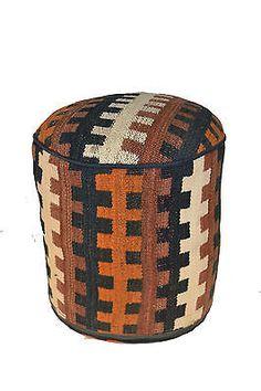 Rug Pouf / Rug Sitting Stool / Rug Ottoman / Kilim Sitting Stool / Stools # 7