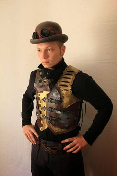 Steampunk Clothing Men | faux leather steampunk vest for men the steampunk vest with ...