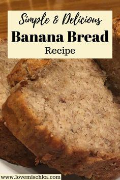 Easy Bread Recipes, Banana Bread Recipes, Sweet Recipes, Cooking Recipes, Banana Recipes Simple, Recipes With Bananas, Homemade Banana Bread, Healthy Banana Bread, Simple Banana Bread Recipe Without Baking Soda