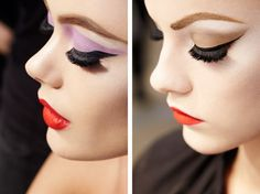 1950's inspired makeup on recent runway shows.
