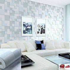 3D Embossed Stereoscopic Mosaic Wallpaper Roll Blue Gray Art Modern Background T #QIHANG #Modern