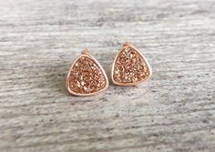 Rose Gold Druzy Stud Earrings Wire Wrapped by SouthernWire on Etsy
