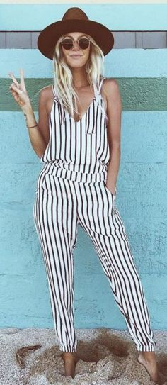#SpringBreak #Outfits / Long Striped Romper - Brown Hat