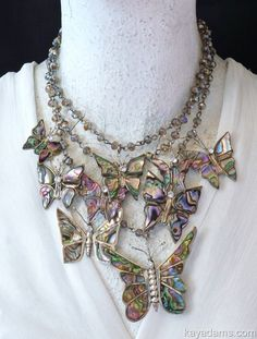 Kay Adams Butterfly Pins Taxco Abalone Mexico. Anthill Antiques, Jewelry and Chandelier Heaven. Butterfly Necklace of former vintage abalone butterlies pins, inlay and sterling silver.  Fly High, Be Free Butterflies Ƹ̵̡Ӝ̵̨̄Ʒ #gottagettakay