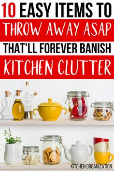 w o w ! my KITCHEN is SUPER ORGANIZED and CLUTTER FREE ever since I threw away these ten items! GENIUS organizing ideas to help DECLUTTER MY KITCHEN!! PINNING THIS FOR LATER :) #organizing #organized #kitchenorganization #organization #organisation #springcleaning