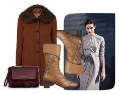 """""""Boring Brown"""" by faeryrain ❤ liked on Polyvore featuring Karen Millen, Boots, fashionset, polyvorecontest, winterstyle and wintercoats"""