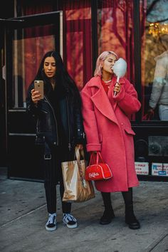 Great coats and bags! New York Fashion Week Street Style | British Vogue #richfashion.com #unique #style #love #ootd #streetstyle