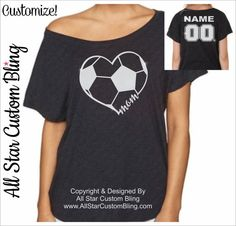 This Custom Soccer Mom Heart with Player Name & Number design is placed on a super comfy and soft Dolman shirt. You will absolutely love the softness and style of this shirt! It will be your favorite for years to come. You may select from 3 shirt colors from picture 3. You can see the glitter colors in picture 2. ►TO CUSTOMIZE - Leave the following info in the NOTES box at check out: 1. Player Name 2. Player Number NOTE: If you dont leave a player name and number at check out, no writi...