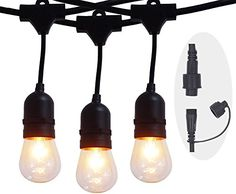 Outdoor Décor-56 FT 488 Extension Weatherproof Commercial Grade Outdoor  Indoor String Lights with 24 Hanging Dropped Sockets 30 S14 Incandescent Bulbs Heavy Duty for Christmas Birthday Wedding Parties Patio -- Learn more by visiting the image link.