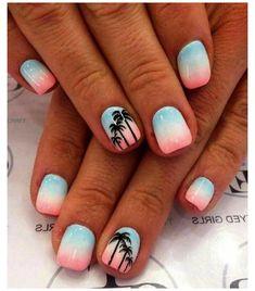 Beach Nail Art, Beach Nail Designs, Cute Summer Nail Designs, Cute Summer Nails, Short Nail Designs, Acrylic Nail Designs, Summer Beach Nails, Nail Ideas For Summer, Beach Vacation Nails