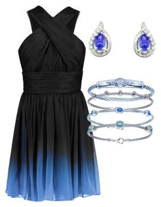 """Blue Ombre"" by bengarelick ❤ liked on Polyvore featuring Halston Heritage, women's clothing, women, female, woman, misses and juniors"