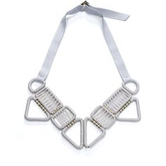 Olgajeanne Ten Buckle Woven Necklace - Limestone (1.105 BRL) ❤ liked on Polyvore featuring jewelry, necklaces, hand crafted jewelry, adjustable necklace, braided necklace, ribbon tie necklace and handcrafted jewellery