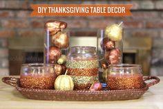 We LOVE #glitter! #DIY Thanksgiving Table Decor by @Kate Zgoda Selene #turkeytablescapes