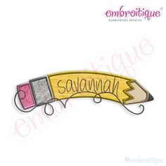 Curved Pencil Name Frame Applique - 8 Sizes! | Font Frames | Machine Embroidery Designs | SWAKembroidery.com Embroitique