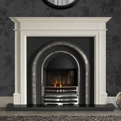 Gallery Bartello Limestone Fireplace With Lytton Cast Iron Arch Brick Fireplace Makeover, Cast Iron Fireplace, Home Fireplace, Living Room With Fireplace, Fireplace Surrounds, Fireplace Mantels, Electric Fireplace, Fireplace Ideas, Granite Hearth
