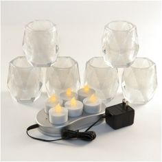 Set of 6 White Frosted/Clear diamond cut glass candle holders and Set of 6 Restaurant Quality Rechargeable Flickering Amber Flameless LED Tealights With Metal Contacts Led Tea Lights, Party Lights, String Lights, Led Candles, Glass Candle Holders, Cut Glass, Frost, Diamond Cuts, Amber