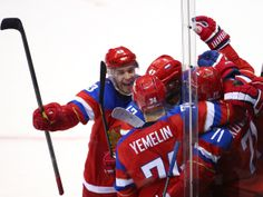 Sochi 2014 Day 12 - Men's Play-offs Qualifications - Russia v Norway Alexander Radulov #47 of Russia celebrates with his team-mates scoring a goal in the second period against Lars Haugen #30 of Norway during the Men's Ice Hockey Qualification Playoff game on day 12 of the Sochi 2014 Winter Olympics at Bolshoy Ice Dome