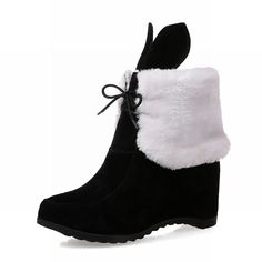 Charm Foot Women's Cute Chic Lace-up Wedge Mid-heel Ankle-high Winter Snow Boots * Want additional info? Click on the image.