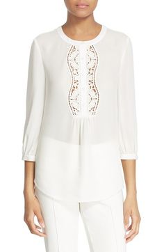 kate spade new york embroidered inset silk top available at #Nordstrom