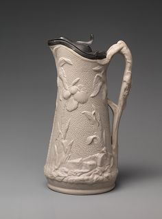 Syrup jug, 1852-58. United States Pottery Company. Parian porcelain. Metropolitan Museum of Art.