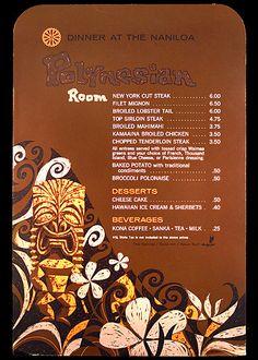 1967 dinner menu dinner menu from Polynesian Room, Naniloa Hotel - Hilo, Hawaii