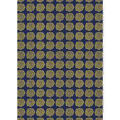 Bunches of bouquets-- Annika Rimala's vintage 1965 pattern is reborn! Marimekko Puketti Navy/Mustard Fabric - $53