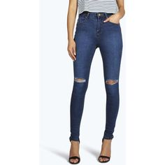 Boohoo Blue Jennie High Waisted Knee Rip Skinny Jeans (670 ZAR) ❤ liked on Polyvore featuring jeans, mid blue, distressed skinny jeans, high-waisted jeans, ripped skinny jeans, high waisted boyfriend jeans and boyfriend jeans