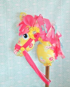 Childs Hobby Horse Toy Pony by Pigeon Pair Designs on Etsy, yellow, pink, fabric, flower, wood, lace, hand made, sewn