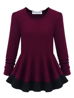 Shop Burgundy Color Block Peplum Blouse from choies.com .Free shipping Worldwide.$31.99