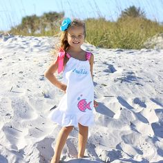 3/13/2013  White Shoulder Tie Beach Cover Up w/ Fish Applique