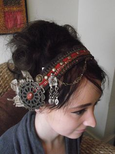 Tribal Fusion Bellydance Headdress- Gold Dust and Rust. $65.00, via Etsy.