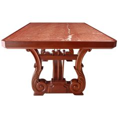 Preowned Dining Table In Mahogany With Carved Lyre Trestle Base And Inset Marble Top Mahogany Dining Table, Antique Dining Tables, Modern Dining Room Tables, Dining Rooms, Steel Table, Wood Table, Vintage Table, Marble Top, French Polish