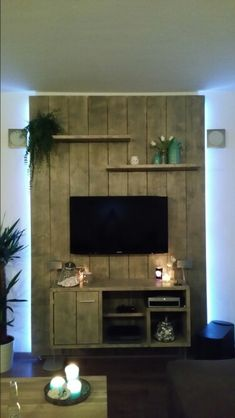 TV meubel steigerhout House Design, House, Home Projects, Home, New Homes, Home Deco, Pallet Furniture, Living Room Entertainment, Home And Living