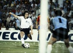 Spain 1 West Germany 2 in 1982 in Madrid. Klaus Fischer comes in to score the 2nd goal on 75 minutes and its 2-0 in Round 2, Group B at the World Cup Finals.