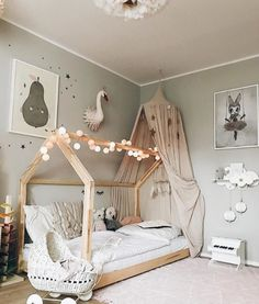35 Amazingly Pretty Shabby Chic Bedroom Design and Decor Ideas - The Trending House Baby Bedroom, Baby Room Decor, Girls Bedroom, Toddler Rooms, Kids Rooms, Toddler House Bed, House Beds For Kids, Baby Room Design, Nursery Furniture