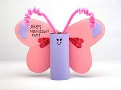 Tube butterfly super cute! I loved doing this project! We had foam hearts at home she used and I got the pipe cleaners at the dollar store. Doesn't have to just for Valentines Day