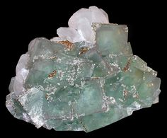 EXCEPTIONAL! Large green Fluorite cubes with Calcite crystals and Pyrite accenting!