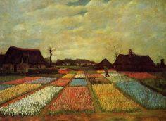 Cette peinture etait Van Gogh premiere jardin image. Parcelles rectangulaires creer une du champ de fleurs de printemps colore.