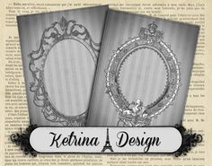 Grey Vintage Antique Frames ATC images 2.5 x 3.5 by KetrinaDesign