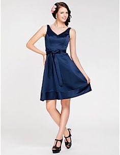 LAN+TING+BRIDE+Knee-length+Satin+Bridesmaid+Dress+-+A-line+/+Princess+V-neck+/+Straps+Plus+Size+/+Petite+with+Sash+/+Ribbon+–+USD+$+200.00